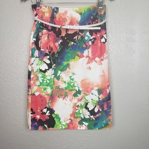 Worthington Floral Belted Pencil Skirt Size 10 NWT